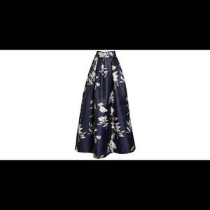 Eliza J Metallic Jacquard Ball Skirt Navy/Gold 8